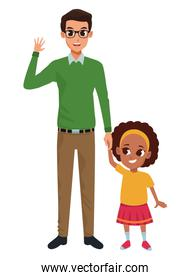 Family Single father with little kid cartoon