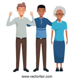 Family grandmother with adult grandsons