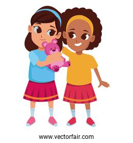 Kids friends playing and smiling cartoon