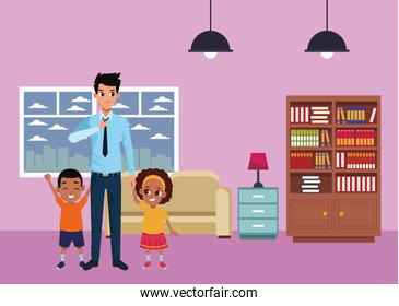 Family single father with afro boy and girl