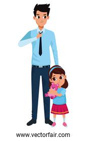 Family single father with little daughter cartoon