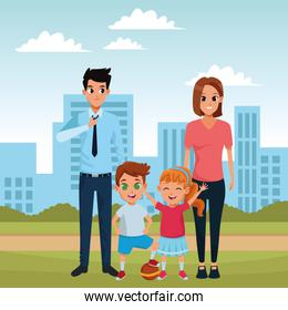 Family parents and childrens cartoons