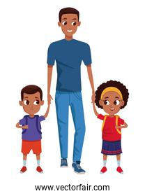 Family single parent with childrens cartoon