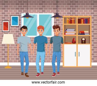 Young friends smiling with casual clothes cartoons