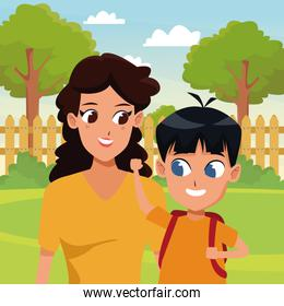 Family single mother with kid