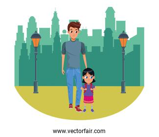 Family single father with kid