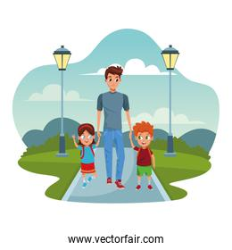 Family single father with kids