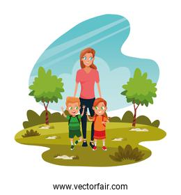 Family single mother with two kids