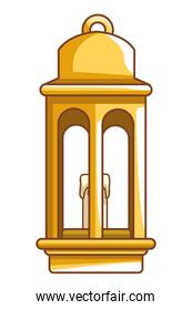 Antique lantern with candle cartoon isolated