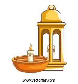 Antique lantern and candle in bowl cartoon