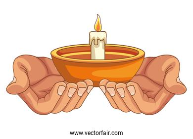 Hand holding candle in bowl cartoon