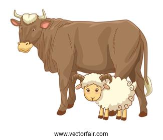 Cow and goat animals cartoon isolated