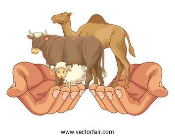 Hand holding goat, camel and cow animals cartoon