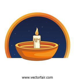 Candle in bowl cartoon on round emblem