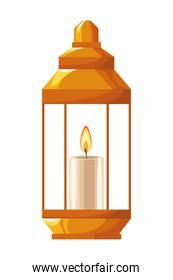 Antique lantern with candle cartoon