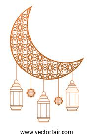 Moon drawing with antique lanterns hanging