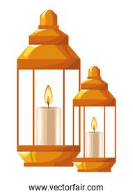 Antique lanterns with candles cartoon