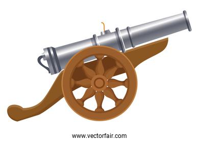 Antique canon with wheels weapon cartoon