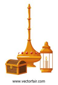 Magic lamp with antique chest and lantern with candle