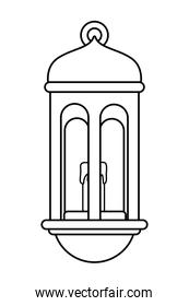 Antique lantern with candle cartoon isolated in black and white