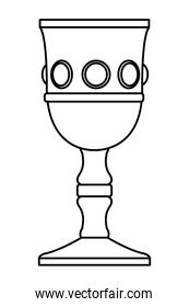 Luxury chalice with gems cartoon in black and white