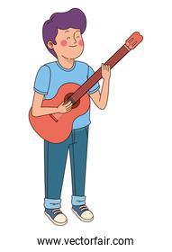 Teenager boy playing the guitar isolated icon