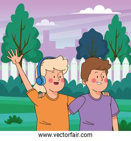 Teenagers friends smiling and having fun cartoon