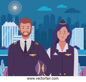 Professionals workers couple smiling cartoons