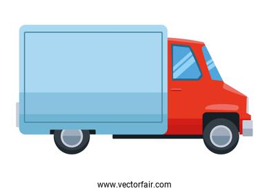 Delivery van with container vehicle cartoon