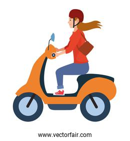 Young woman riding scooter motorcycle