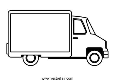 Delivery van with container vehicle cartoon in black and white