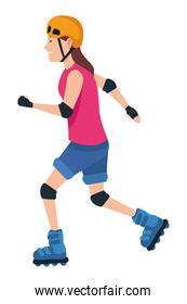 Young woman with skates cartoon