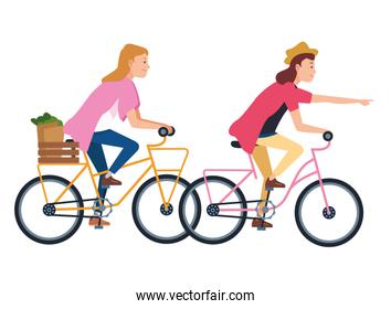 Young people riding bicycles cartoon