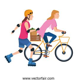 Friends with bike and skates