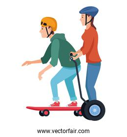 Young people with skateboard and electric scooter