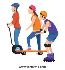 People with scooter and skateboard