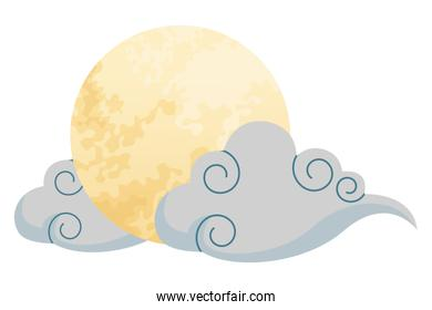Rabbit on moon with cloud
