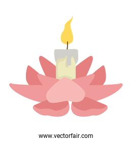 burning candle on flower cartoon