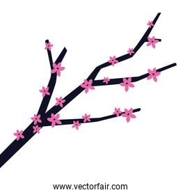 autumn tree branch with flowers cartoon