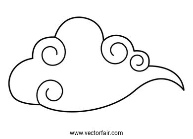 Cloud wather cartoon symbol isolated in black and white