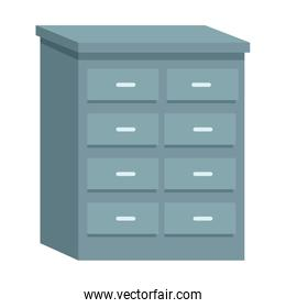 Office drawer furniture cartoon isolated
