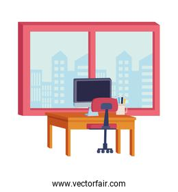 Office and workplace elements cartoons