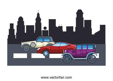 Vintage and classic with modern cars vehicles