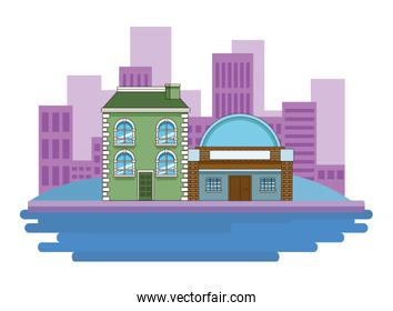 Urban buildings and city architecture