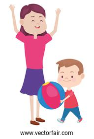 Family single mother with children cartoon