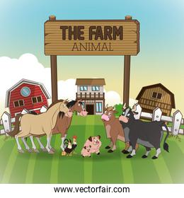Farm animals cartoons, vector illustration