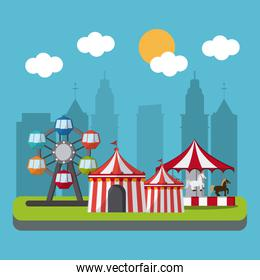 Circus wheel and tent design