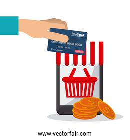 Shopping with smartphone design, Vector illustration