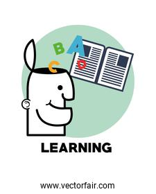 Graphic design of learning, vector illustration