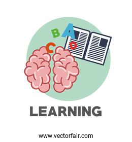 Graphic design of learning and icons